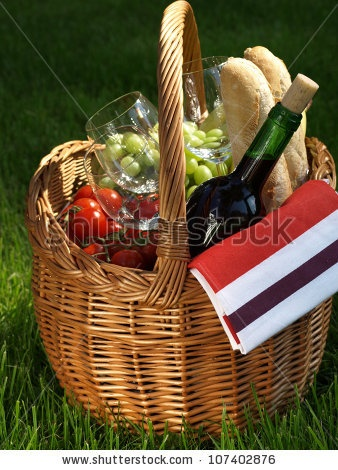 Romantic Picnic for two, Cheese, wine, bread and fruit cool