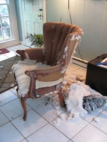 COTTAGE AND VINE: How to Re-upholster a Chair When You Have No Idea What You are Doing