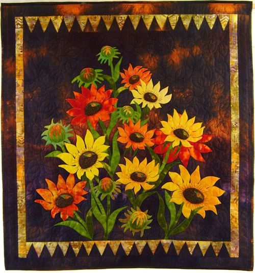 Mary Transom - Quilt Artist , Sunflowers  machine appliqué and quilting