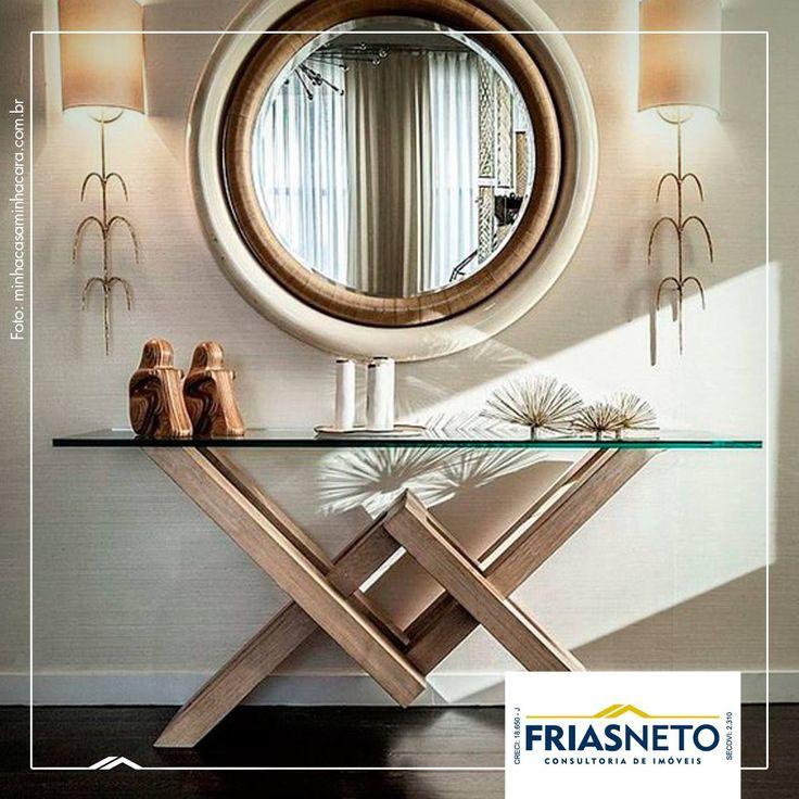 Adesivo De Parede Verde ~ O hall de entrada fica sofisticado com a combinaç u00e3o u201caparador + espelho u201d Complemente a