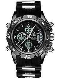 0b4bc3d427ce Relojes de hombre negro multifunción militar impermeable deportes analógico digital  reloj cronógrafo alarma día fecha calendario
