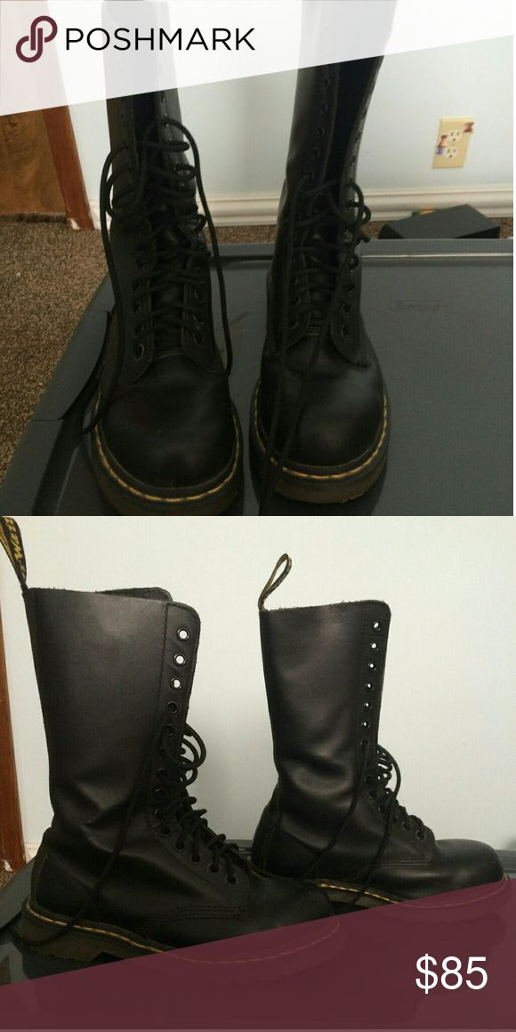 Dr Martens 14 eye Mid Calf Smooth Steel Toe Boots Smooth black steel toe dr martens. Only worn a handful of times, they're too big on me! I need like a half size smaller lol Dr. Martens Shoes Combat & Moto Boots
