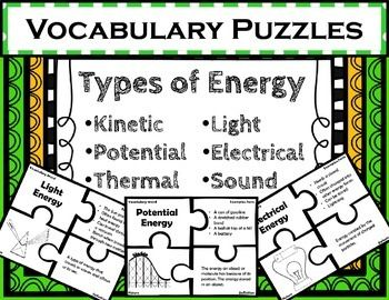 Types of Energy Vocabulary Puzzles. Use these puzzles to provide quick and fun practice with differentiating between 6 different forms of energy. Each puzzle includes 4 pieces: vocabulary word, examples/facts, picture, and definition. This is a different take on a standard Freyer Model.