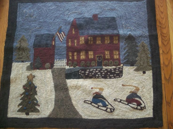 Charming Primitive Hand Hooked Wool Christmas Rug