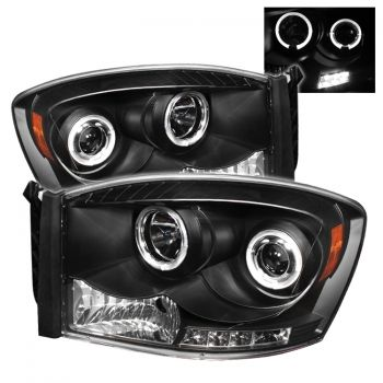 Buy Dodge Ram 1500 2500 3500 06-08 Halo LED Projector Headlights - Black Aftermarket Car Parts EZMotoring.com