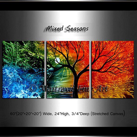 Tree 60  Four Seasons Colorful Landscape Art by largeartwork