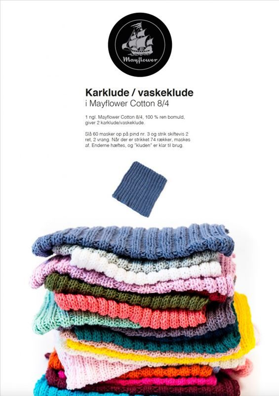 <p>Gratis strikkeopskrift på smukke mønstrede karklude i stærk bomuldskvalitet. Mayflower Cotton 8 byder på et væld af farver, som giver