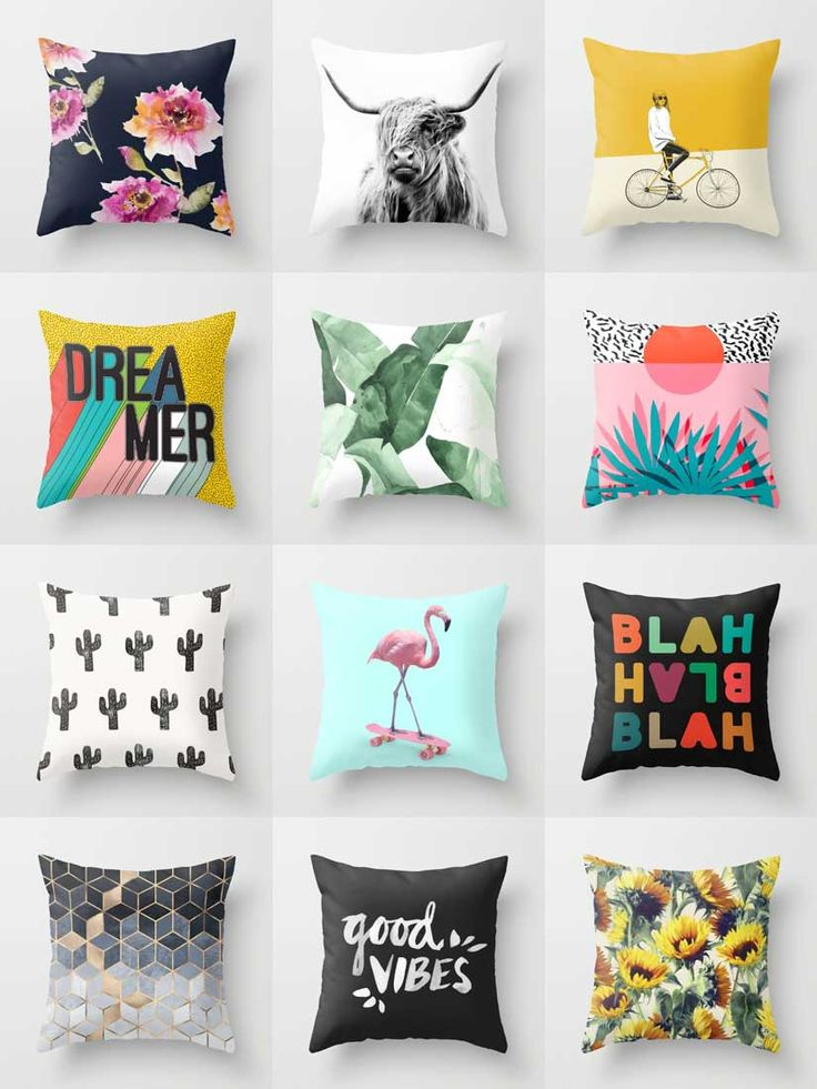 Society6 Throw Pillows - Available in a variety of sizes and both square and rectangle, our Throw Pillows are a stylish statement that will liven up any room.