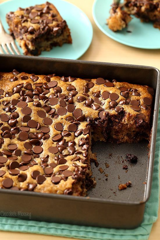 Banana Chocolate Chip Snack Cake - very moist and uses up overripe bananas! Egg free and dairy free