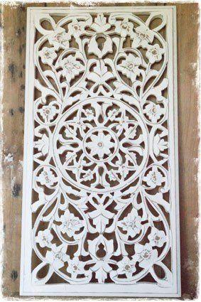 wit houtsnijwerk wandpaneel of raampaneel - janenjuup