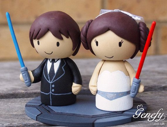 STAR WARS Princess Lea & Han Solo Wedding Cake Topper by GenefyPlayground $177
