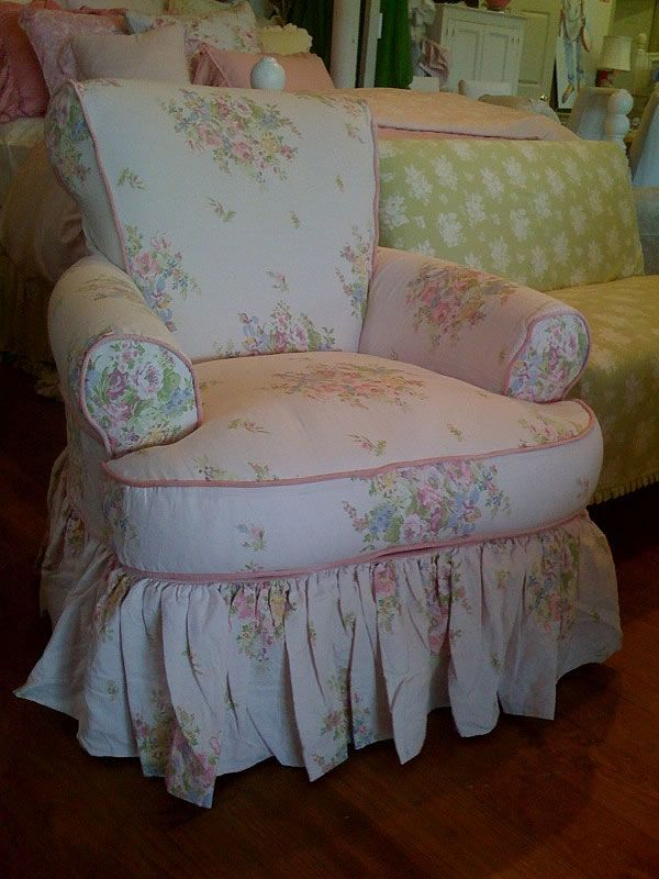 I love this. Have the melissa bedding but never thought of putting it on a chair. Oh so pretty