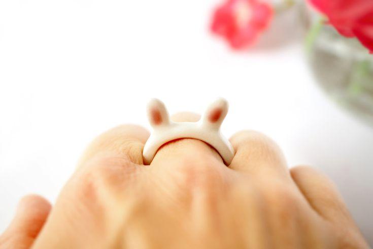 Ceramic Bunny Ring, White in light pink details, Handmade, White Italian clay…
