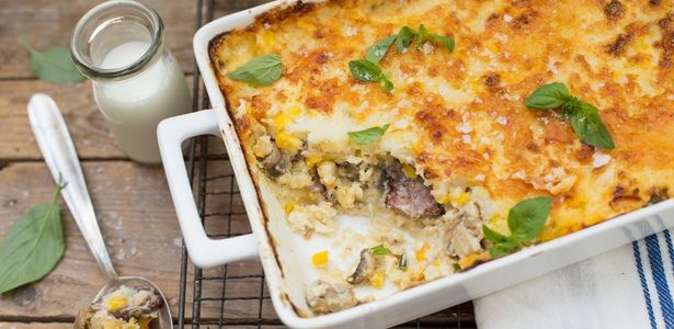 Biltong, mushroom and feta pap tert -- Layers of beautiful flavours that make a great braai side dish.