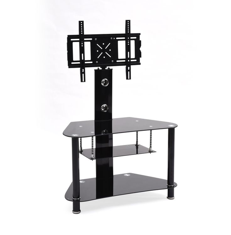 hodedah import swiveling corner glass tv stand with mount black