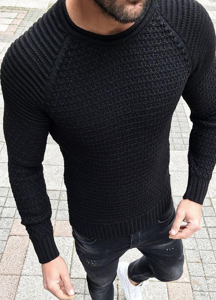 Modagen.com   Erkek Giyim, Erkeklere Özel Alışveriş Sitesi ~ Siyah Örme Kazak