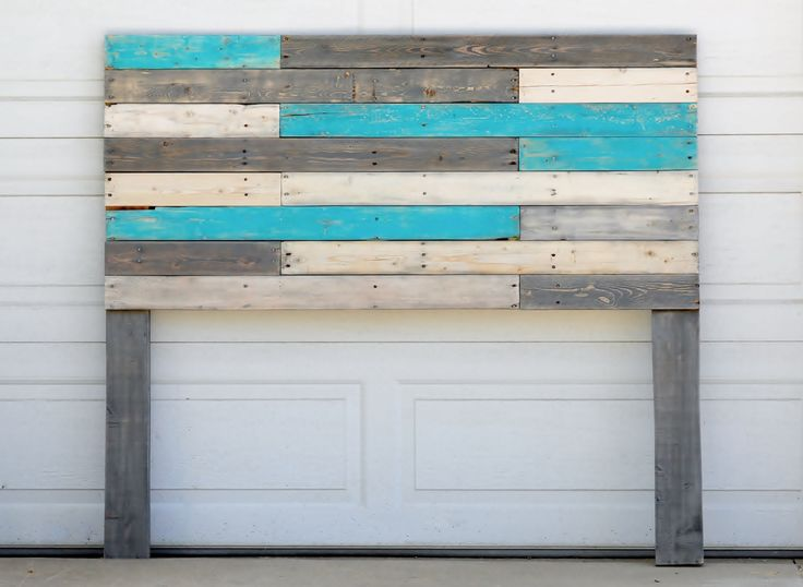 Wooden Headboard with Turquoise Accents by BreakingandRemaking on Etsy