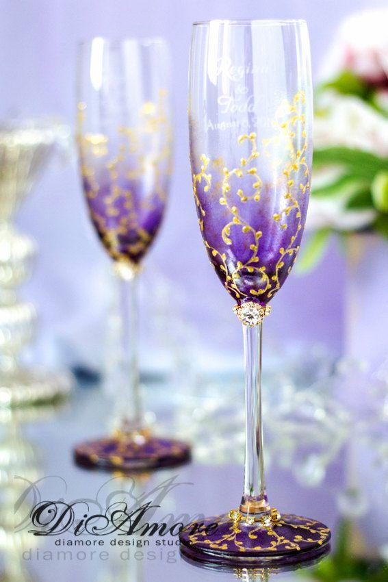 Plum & Gold/Personalized wedding champagne от DiAmoreDS на Etsy