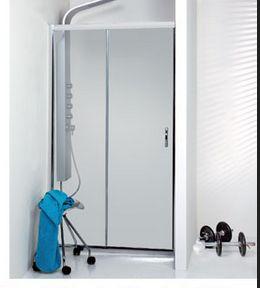 επάλληλη πόρτα ντους με βαρέως τύπου κρύσταλλο , απο αλουμίνιο, σειρα 7000 διαθέσιμη σε όλα τα μεγέθη