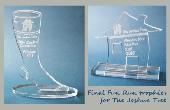 Curious Clare - laser cut perspex trophies for The Joshua Tree's Fun Run 2013