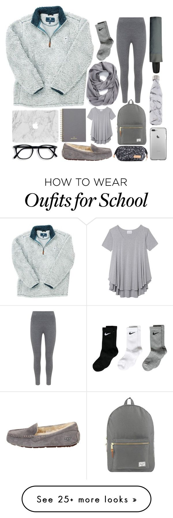 """School"" by thesabriner on Polyvore featuring Mulberry, Tory Burch, Olive + Oak, NIKE, UGG Australia, Mint Velvet, Minimal, Herschel Supply Co., S'well and Eastpak"