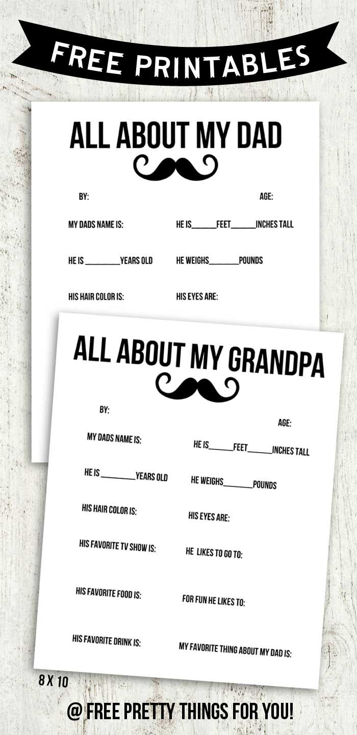 All About My Dad and Grandpa Free Printable Blank one included!