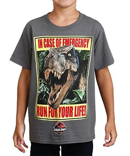 Jurassic Park Little Boys In Case Of Emergency Run For Your Life Tee Charcoal 5/6 @ niftywarehouse.com #NiftyWarehouse #JurassicPark #Jurassic #Dinosaurs #Film #Dinosaur #Movies