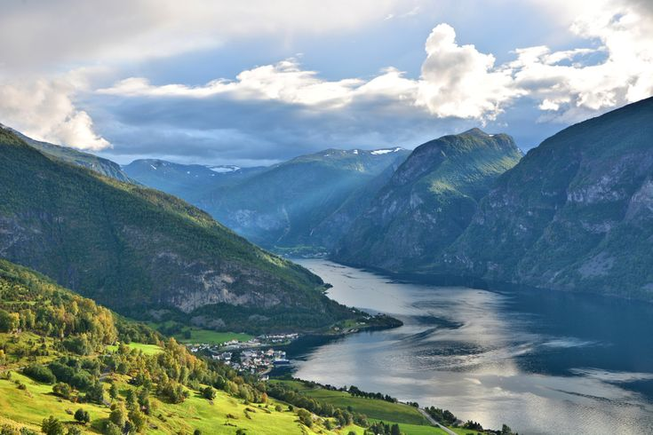 Aurland and Flåm from above the fjord