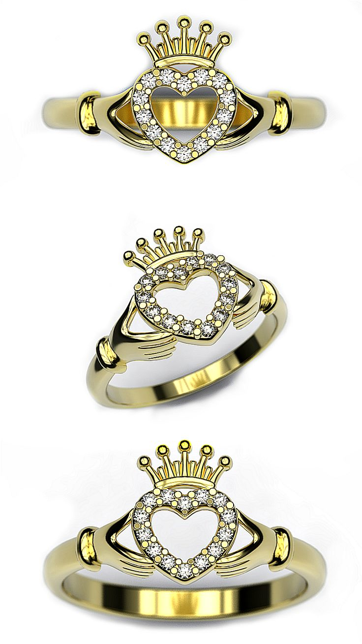 Claddagh ring heart in hands 3d print model jewelry