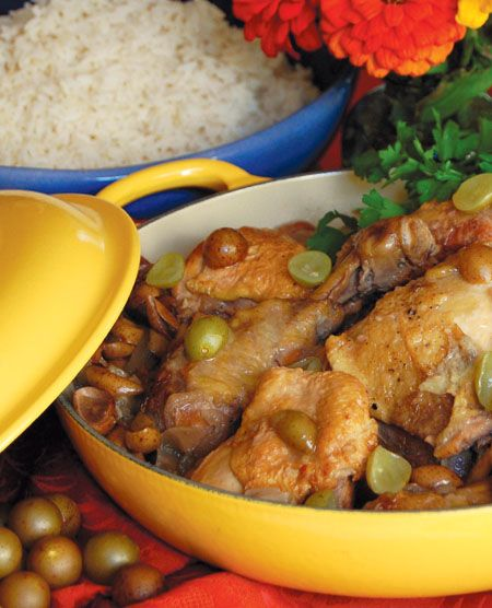 Recipe: Drunken Chicken with Muscadines and White Wine. Here's a unique idea to try with some of our organic chicken from Walk Ahead Farm.  (Adapted from The New Southern-Latino Table)
