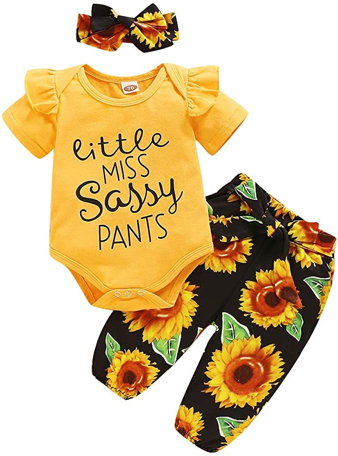 3PC Newborn Baby Girls Summer Clothes Sunflower Romper Tops Shorts Pants Outfits