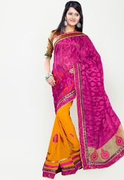 Yellow coloured embroidered sarees for women by Sourbh Sarees. Made from georgette, this saree measures 5.5 m in length, and comes with unstitched blouse piece of 0.8 m.