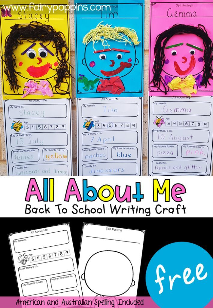 This FREE all about me writing craft is perfect for back to school time or an ab…   – Classroom Freebies