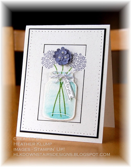 lovely card ... mason jar with flowers ... luv how the jar looks done with watercolors ... Stampin' Up!