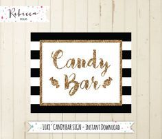 candy bar sign printable candy buffet sign black and white sign gold wedding sign dessert table sign take a treat sign candy sign  by RebeccaDesigns22