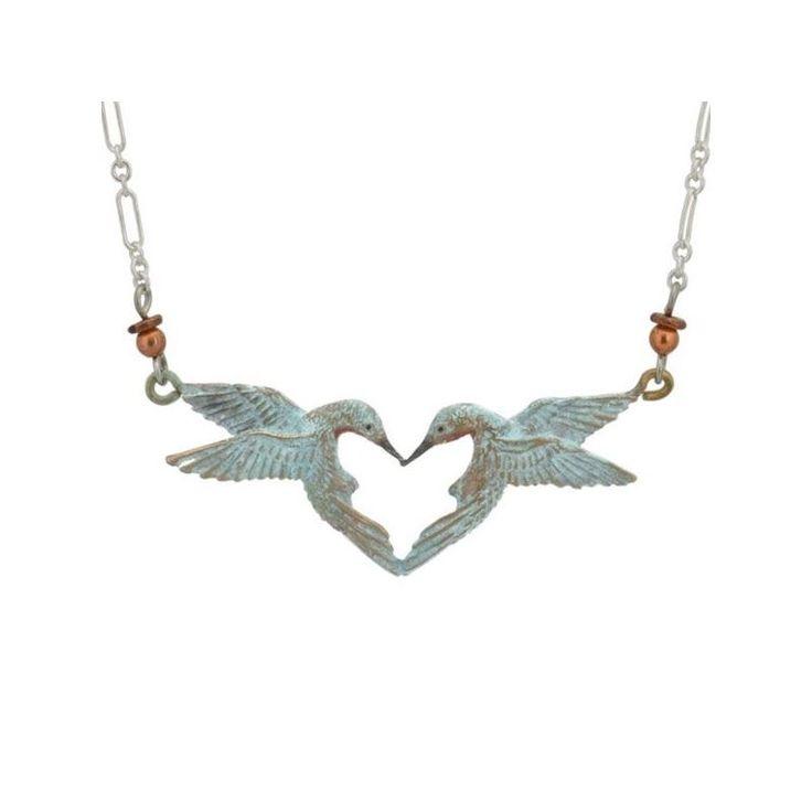Hummingbird Necklace | Hummingbird Heart Pendant | Bronze