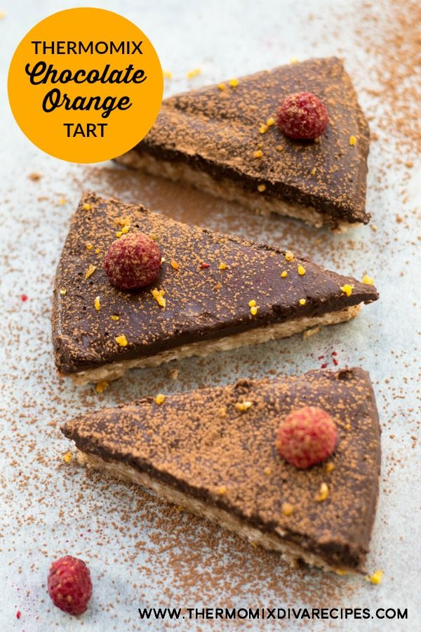Thermomix Chocolate Orange Tart - this decadent Thermomix Chocolate Orange Tart tastes seriously good. It's made with dates, almonds, coconut oil, honey, oranges and cacao and is no bake.