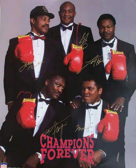 Ken Norton, George Forman, Larry Holmes, Joe Frazier and Muhammad Ali