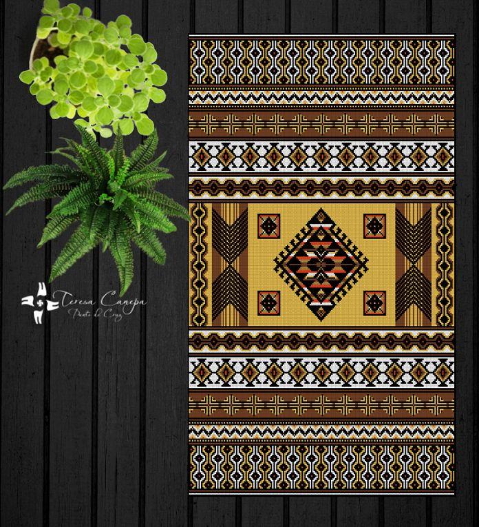 ✄ PATRON PUNTO CRUZ EN VENTA  Alfombra Inspiración Mapuche 2  Para bordar con Lanas Gruesas.  200 puntos de ancho  313 puntos de largo.  Medidas aprox. si se borda en esterilla gruesa y lanas gruesas:   83 cm de ancho  1,30 Mt de largo  Utiliza 6 colores . http://puntocruzandino.weebly.com/