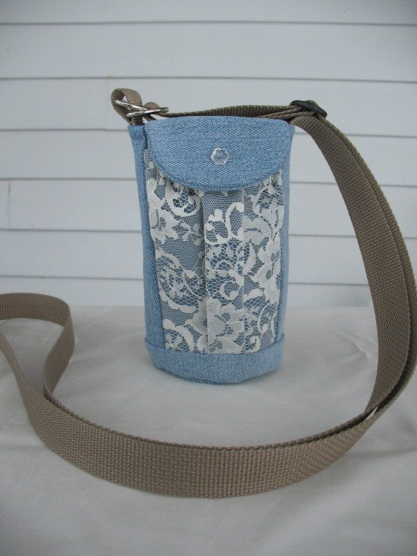 Water Bottle Holder Sling//Walkers Insulated Water Bottle Cross Body Bag// Hikers Water Bag-Recycled Blue Jean Fabric with Lace Pockets by TheSewingMenagerie on Etsy