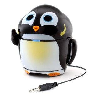 GOgroove: Groove Pal Penguin Kid-Friendly Animal Speaker This is as adorable as it looks. More importantly the sounds quality is great. The aux cable retracts. Built-in 3.5mm plug and cord and retracts inside when not in use. http://awsomegadgetsandtoysforgirlsandboys.com/gogroove/ GOgroove: Groove Pal Penguin Kid-Friendly Animal Speaker
