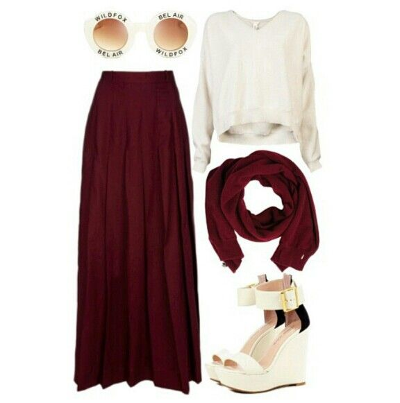 Love this outfit, the combination of burgundy and different shades of white & cream ❤. Perrfect for the Hipster, Native Hijabi. #OTD