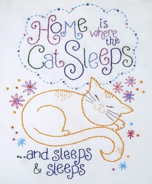.: Kitty Cat, Embroidery Patterns, Cat Sleep, Catsleep, Design Home, Houses Design, Vintage Style, Kittycat, Baby Cat