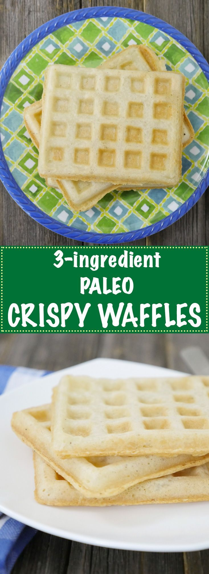 These CRISPY WAFFLES are gluten-free, dairy-free, vegan AND paleo. You only need 3 ingredients!! Find the recipe on MyHeartBeets.com