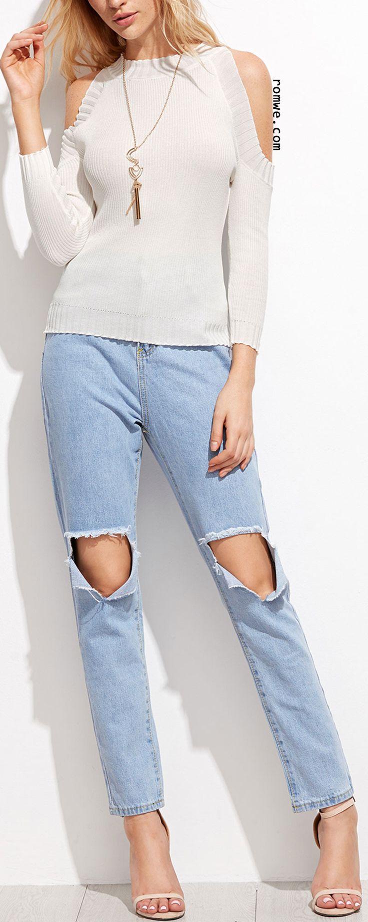 Light Blue Ripped Ankle Denim Jeans