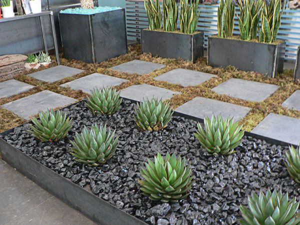 Modern plant bed black river rock succulents modern for Garden bed ideas for front of house australia