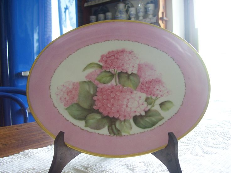 piatto con ortensie - dipinto a mano - Nanda