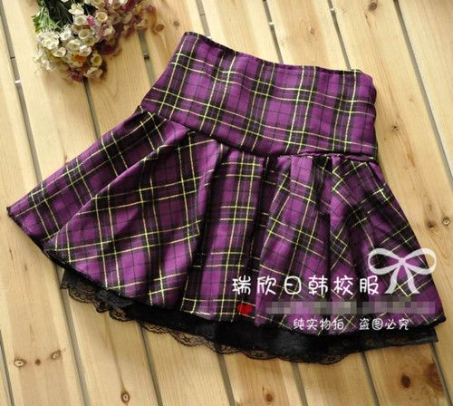 7 Colors Size S-XXXL Plus size High quality Preppy style students plaid mini skirts school uniform skirts girls lace skirts