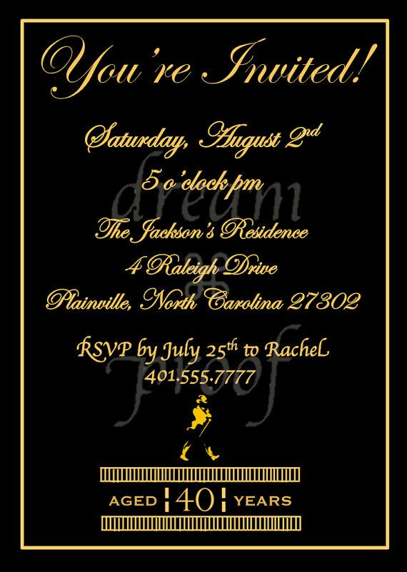 Customizable Johnny Walker Theme Invitation Husband by ...