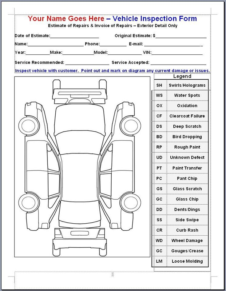 Mike Phillips VIF or Vehicle Inspection Form